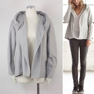 James Perse Open Front Draped Hooded Cardigan Sz 4